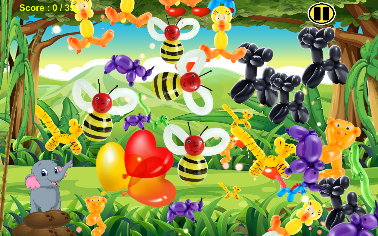 这个游戏会给你带来: - 出色的高清动物气球显卡 - 当你弹出一个气球动物的声音效果 - 当完成每个级别,并在儿童模式下令人惊叹的烟花表演效果 - 游戏困难可以在游戏进行调整 - 简单,放松,最好在气囊弹出游戏1 - 最好在孩子5 ,和全家人一起玩。这里就是故事来自:某处在亚马逊丛林的中间,有一个名为Elepi一个可爱的小象。而她的爸爸和妈妈去找一些食物,她留在家里扮演她的后院。她正在练习使用她的行李箱,因为她想帮助爸爸和妈妈很快找到食物扔。她用她的行李箱挑选水果扔朝飞的气球。帮助她拍摄尽可能多的气球尽可