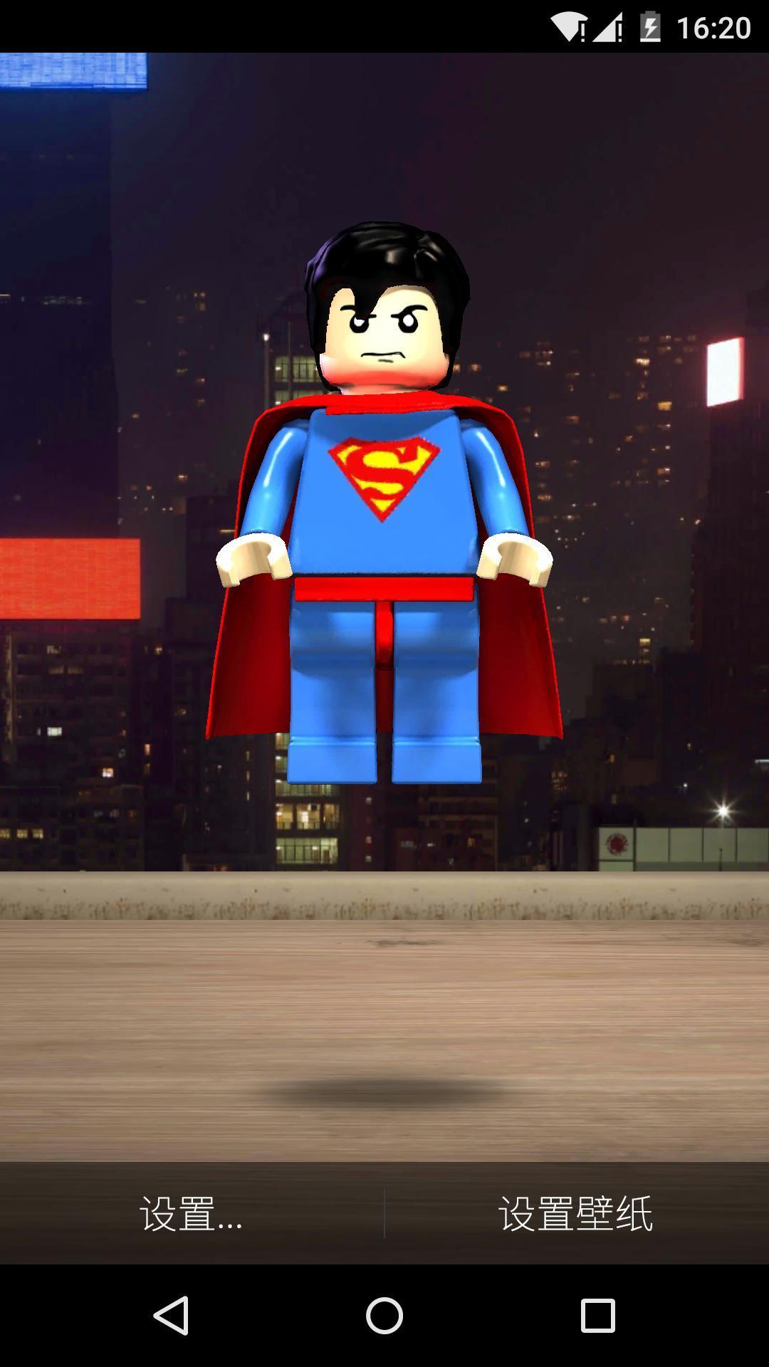 3D小超人梦象动态壁纸是一款以超人为主要... 3D小超人梦象动态壁纸是一款以超人为主要元素的动画类动态壁纸作品,屏幕中卡通超人身穿超人服,站立在公路上,背后是鳞次栉比的高楼大厦。父亲虽然不会时时穿上蓝色紧身衣,披上红色斗蓬,但每当我们有困难的时候,他都会化身超人挺身而出,为孩子开路。 互动效果: 点击效果:点击超人,超人会摆动手臂,向你走来。然后出现蓝色光圈,飞上天。 滑动效果:左右滑动屏幕,超人的头会随着你的手指方向左右摆动。 3D小超人高清动态壁纸特点: -高清画质 -优质原创设计 -轻量省电,续航